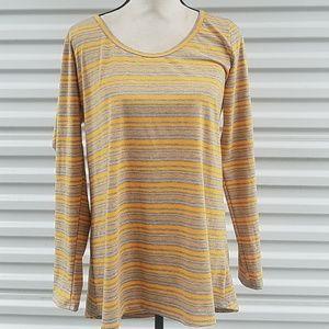 Lularoe yellow grey striped long sleeve t-shirt